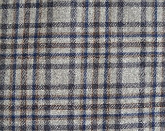 Gray Blue Plaid Worsted Wool Fabric 100 Percent Worsted Wool, Fabric by the Yard