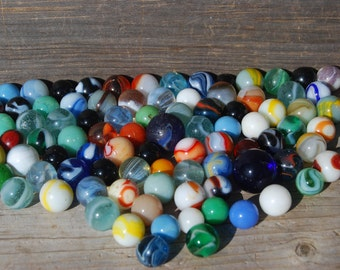 110 Antique Marbles, Old Glass Toy Marbles
