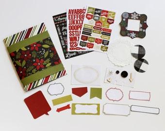 Christmas Winter Holiday Mini Album Scrapbook Kit Journal Daybook December Notebook Floral Minibook 6x8 DIY Christmas Simple Stories