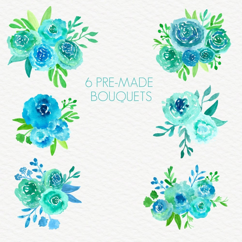 Turquoise Joy Abstract Watercolor Flowers Floral Clip Art