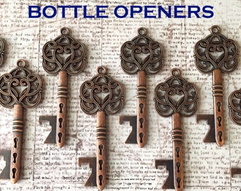 "Wedding Favors - Skeleton Key BOTTLE OPENERS – Set of 100 – Antique Copper – 3"" Long (76mm) - Ships from USA."