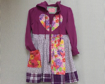 Upcycled Patchwork Hoodie , Upcycled Colorful Jacket , Purple Patchwork And Appliqué in Vibrant Colors , size small