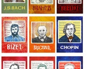 9 Classical Composers - printable ACEOs  - Artist Trading Cards