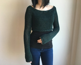 Cropped Sweater, Green Sweater,  Knit Sweater, Sweater Shrug