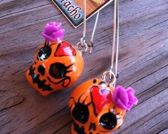 Sugar Skull Earrings Kidney Wire Handmade
