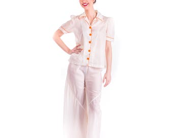 Rare 1940's Parachute Pajamas 30s 40's PJs Nightwear