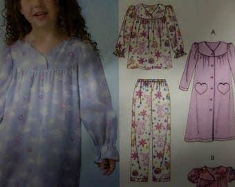 NIGHTGOWN Pattern • McCall's 4646 • Girls 6-8 • Pajamas • Button Robe • Sleepwear • Sewing Patterns • Childrens Patterns • WhiletheCatNaps
