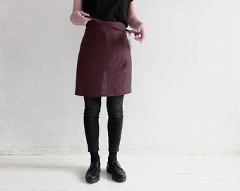 Natural linen apron with pockets, Eggplant color half apron, Soft linen Cafe apron, Short apron, Waist apron, Men apron, Women apron
