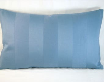 Blue Striped Pillow Blue Tone onTone Decorative Accent Lumbar Pillow Blue Pillow 13x21