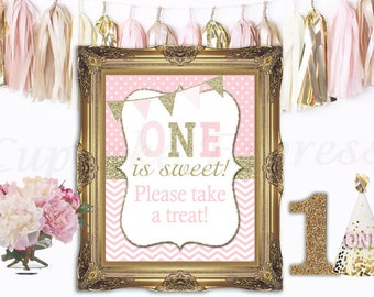 One First Birthday girl pink gold Please Take a Treat Sign  8x10 5x7 Prints table sweet treats display - Cupcake Express 1030