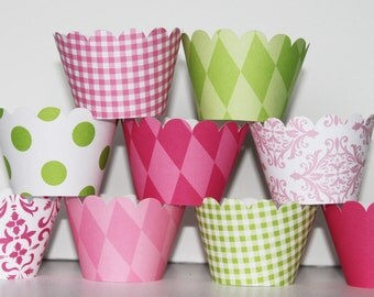 hot pink, Lime Green, Cupcake Wrappers, cupcake liner, wedding, bridal shower, baby shower, birthday party, girls first birthday, flamingo