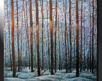 Original Extra Large Painting Canvas Oil Winter Trees Forest Contemporary Snow