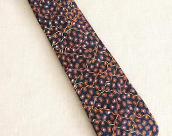 Mens Ties, Neckties, Silk Tie, Floral, Neck Ties, Flowers, Navy Blue, Hand Embroidered, Handmade, Wil Shepherd, Vintage, Up Cycled, Preppy