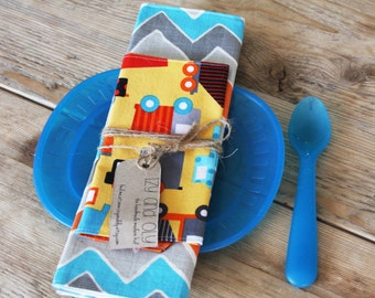 Chevron Placemat and Trucks Napkin Set for Kids