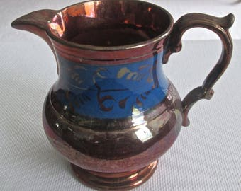 1890s English Lustre Luster Ware Pitcher Copper Color Blue Band Gold Accents