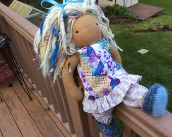 ARTSY, shabby chic, purple, fit American Girl, Waldorf doll clothes, 2 pc, ooak