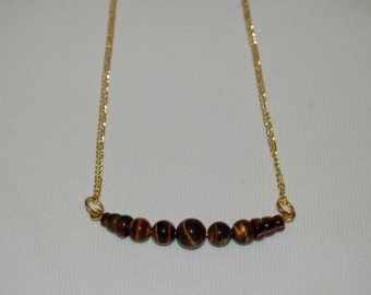 Tigers Eye Bead Necklace Choker Trendy Bead Necklace Jewelry Fall Jewelry Boho Bohemian Minimal Chic Earthy Row Bar