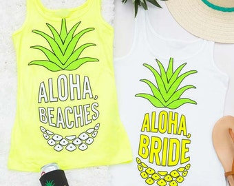 Pineapple Bachelorette Party Shirt | Neon Aloha Beaches & Aloha Bride | Bride and Bridesmaid Gifts | Hen Party