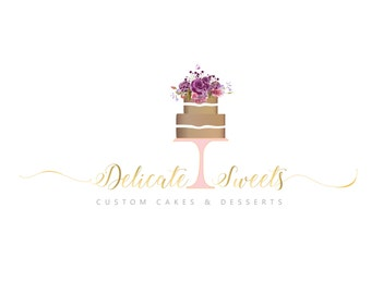 Wedding Cake Logo design - Pre-designed logo. Customize with your business name.