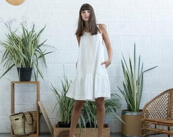 Pre Winter Sale 15% Lace Peplum Hem White Dress, White Tank Dress