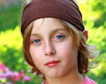 Boys Headband, Brown Boy's Headwrap, Ear Warmer Headband for Kids, Solid Brown Headband, Wide Stretchy Headband (#1102) S M L