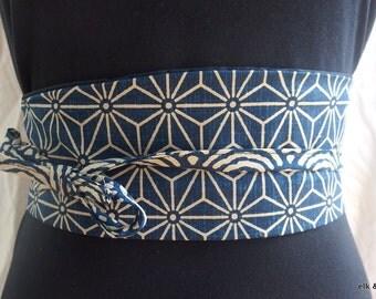 Japanese Obi Belt, Wrap, Tie, Unique - Blue, Navy, waves, Stars.