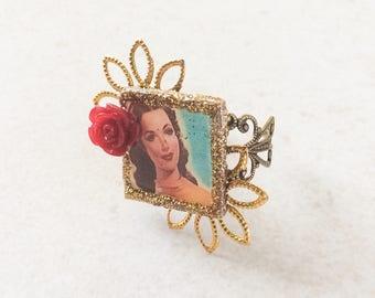 Mexican Calendar Girl Ring, Pin Up Girl Resin Collage Glitter Flower Ring