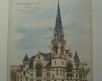 Union Congregational Church, Rockville, Connecticut, 1888, Warren H Hayes, Architects. Hand Colored, Original Plan. Architecture, Antique