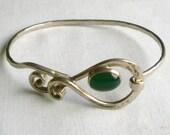 Vintage Sterling Silver Green Stone Bracelet