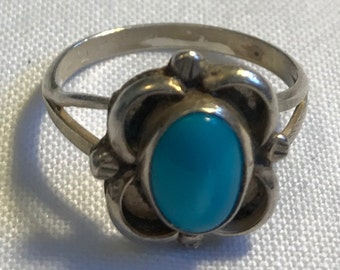 Sterling Silver Turquoise Ring-Size 5 1/4