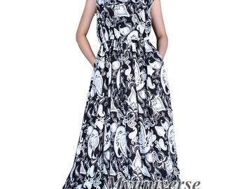 Plus Size Dresses Maxi Dresses for Women With 2 Pockets Black White Dress African Dresses Hanky Dress Summer Sundress Cotton Floor Length