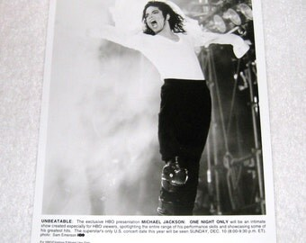 "Michael Jackson HBO Network Photo - 8X10 ""One Night Only"" (Cancelled) HBO Special, 1995 Authentic"