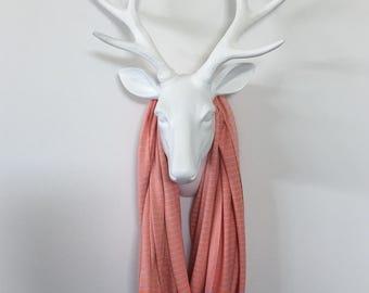 Infinity Scarf - Sherbet Orange & Lavender MINI Stripe - Cotton Jersey Knit Strip Scarf