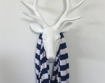 Infinity Scarf - Navy & White Stripe  - Cotton Jersey Knit