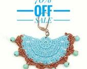70% OFF SALE Earrings- Ethnic Crochet Beadwork Chandelier Statement Earrings, Gift for Women, Boho Crochet Jewelry, Fabric Large Earrings