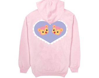Super cute over-sized Pink Bears Hoodie. SHOWPONY X MERRIMAKING.