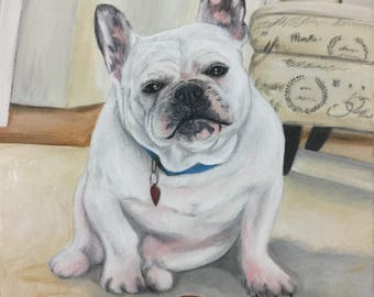Custom Frenchie painting from photo on canvas hand painted pet portrait french bulldog art