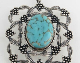 Simulated Turquoise Pendant - Sterling Silver 925 Statement Leaf Cluster Vintage C247