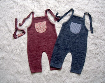NEW-6-12 months Wine Red-Blue Twins Rompers,Photography Prop Sets,6-12 months Girl-Boy Outfits,Sitters Twins Rompers,Sitters Props