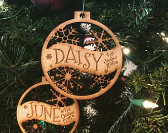 Set Of 2 - Customizable Baby's First Christmas Ornament - Engraved Birch Wood Ornament