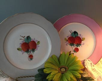 Antique vintage handpainted strawberry plates gray and pink gold trim beautiful wall decor or serving.