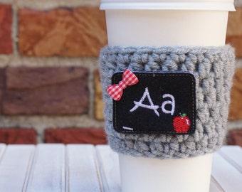 Back to School - Teacher Appreciation - Teacher Gift - Back to School Gift - Coffee Cozy - Crochet Coffee Cozy - Coffee Sleeve - Cozy