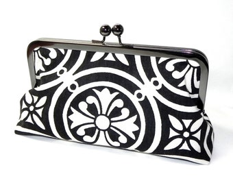 Black and White elegant Clutch - Red Polka dots - Gunmetal kisslock frame