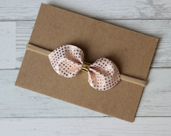 Pink + Gold Dot Faux Leather {LUCY} - Nylon Headband - Valentine's Day