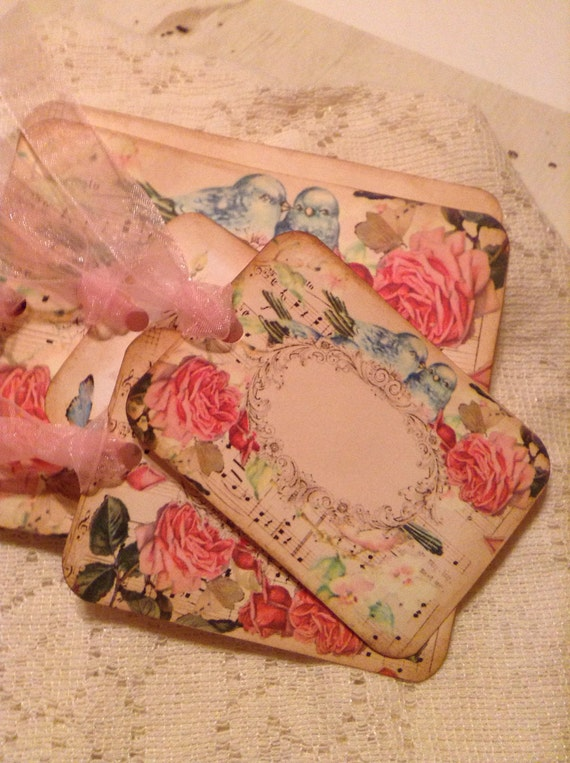 Moonlight Roses Tags, Music Blue Bird Hang Tags, Vintage French Roses Hang Tags, French Style Tags, Labels, Gift Tags, Pink Organza Ribbon
