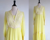 ON SALE 1/2 OFF Vintage 70s Yellow Prairie Dress, Boho Wedding dress, Hippie Wedding Dress