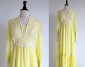 ON SALE 1/2 OFF Vintage 70s Yellow Prairie Dress, Boho Wedding dress, Hippie Wedding Dress