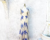 MOTHERS DAY SALE Vintage 30s Gown, 1930 Bias Cut Silk Chiffon Dress, Long Sheer Blue Flower Print