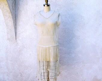 Vintage 20s Dress, 1920 Lace Flapper, Jazz Age Party, Great Gatsby, 20s Short Dress, Roaring 20s Drop Waist Ivory Wedding Dress