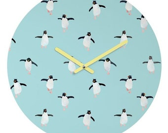 Unique wall clock light blue watercolor penguin parade, kids room nursery decor baby shower gift, cute animal lover apartment wall accessory